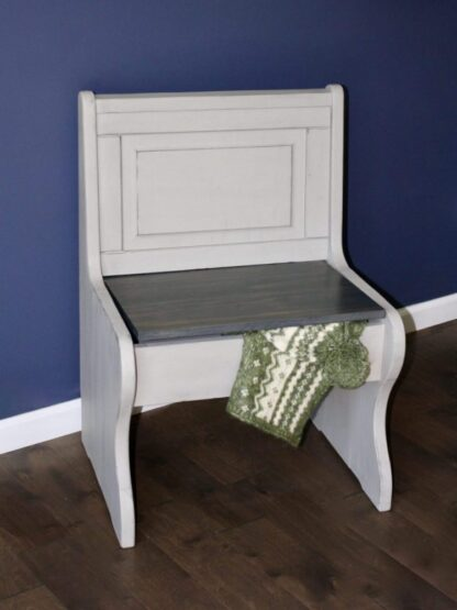 Upcycled church pew with storage, taupe with gray stain