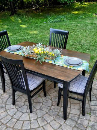 Dining table with 4 chairs, wood and distressed black
